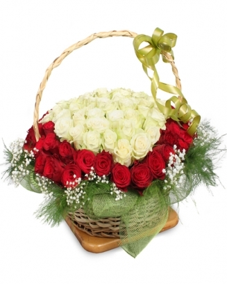 BASKET WITH 101 RED AND WHITE ROSES