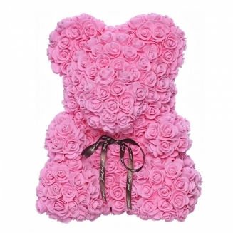 LARGE PINK TEDDY BEAR of roses in a luxury box