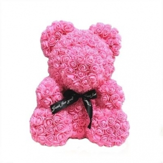 PINK TEDDY BEAR of roses in a luxury box