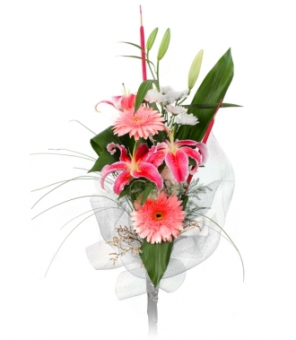 Gerbera. Chrysanthemum and Lilium bouquet